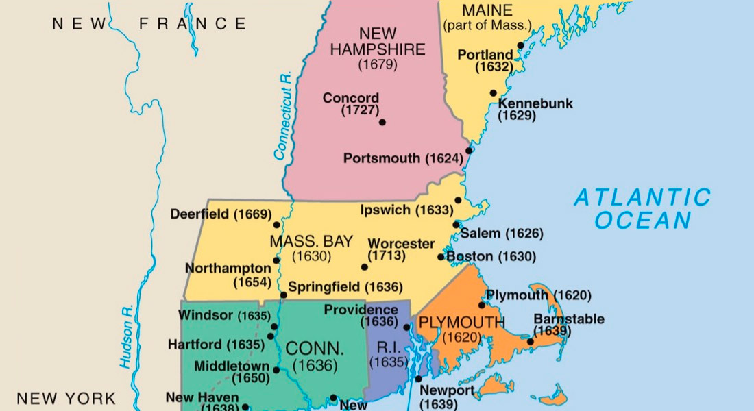 colony locate between Massachusetts