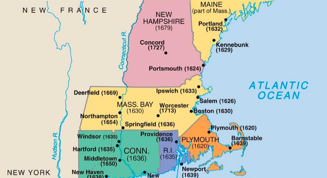 colony locate between Massachusetts