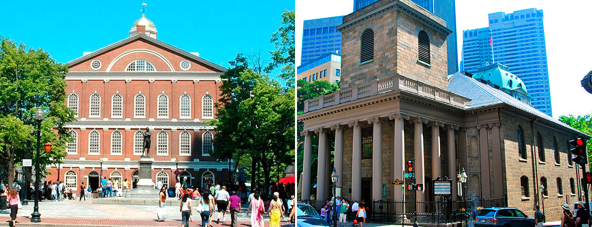 Faneuil Hall and King's Chapel